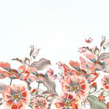 Floral vector background with cosmos flowers stock illustration