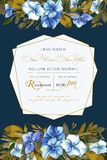 Floral vector background with hydrangea for wedding invitation, greeting template in blue and ocher colors. Geometric frame with beautiful flowers, composition vector illustration