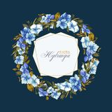Floral vector background with hydrangea for wedding invitation, greeting template in blue and ocher colors. Round frame wreath with beautiful flowers stock illustration