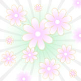 Floral vector background. Vector background with pink flowers and green stripes Royalty Free Stock Photo