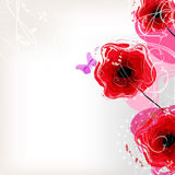 Floral vector background with red poppies Stock Photo