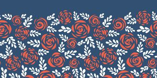 Floral vector border red roses on blue seamless vector illustration