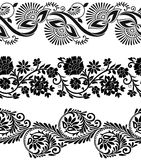 Floral vector borders. Floral vector seamless borders on white background Royalty Free Stock Photography