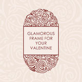 Floral vector calligraphic frame. Design for wedding and greeting cards, valentines, invitations Royalty Free Stock Images