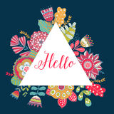 Floral vector card with colorful flowers in triangles frame. Royalty Free Stock Photos