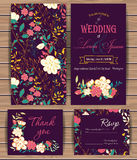 Floral vector card templates royalty free illustration