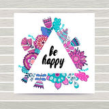 Floral vector card in triangles frame. Stock Images
