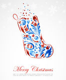 Floral vector Christmas sock Royalty Free Stock Photo
