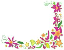 Floral vector corner with stars,  flowers and curls Royalty Free Stock Image