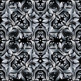 Floral vector damask seamless pattern. Black and white 3d baroqu. E background wallpaper. Antique vintage flowers, leaves, dots, scrolls, swirls, ornaments vector illustration
