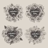 Floral vector design frame with big heart. Cherry flowers and leaves, anemones, poppy, roses. Hand drawn wedding card stock illustration