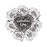 Floral vector design frame with big heart. Linear anemone. Hand drawn wedding card. Valentines Day concept. Love concept vector illustration