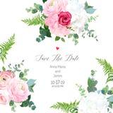Floral vector design frame. Pink ranunculus, red rose, white hydrangea flowers, eucalyptus, forest fern, greenery. Wedding elegant card. All elements are stock illustration