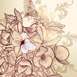 Floral vector design with hand drawn flowers and butterflies Royalty Free Stock Images