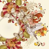 Floral vector design with swirl element, butterfli Royalty Free Stock Image