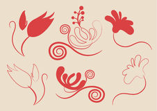 Floral vector elements in various styles for ornam Stock Images