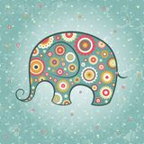 Floral vector elephant. Abstract floral elephant on grunge backdrop, EPS 10 vector illustration Royalty Free Stock Photography