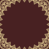 Floral Vector Fine Frame. Classic vector frame with arabesques and orient elements. Abstract fine brown and golden ornament Stock Images