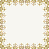 Floral Vector Fine Frame. Classic vector golden frame with arabesques and orient elements. Abstract fine ornament Royalty Free Stock Photography