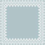 Floral Vector Fine Frame. Classic vector square frame with arabesques and orient elements. Abstract fine ornament with place for text. Light blue and white Royalty Free Stock Photography