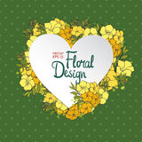 Floral vector frame. Heart shape Royalty Free Stock Photos