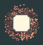 Floral Vector Frame. Round vector floral frame. Hand drawn field flowers. Red and yellow plants on dark background. Vintage square border as a placeholder Royalty Free Stock Photography