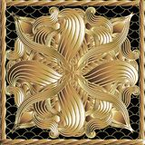 Floral vector gold 3d panel pattern. Floral vector 3d panel pattern. Ornamental ornate grid lace background. Square rope frame. Gold hand drawn intricate stock illustration