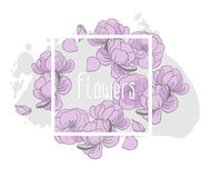 Floral vector invitation card design. Light purple flowers, white frame with place for your text Royalty Free Stock Photography