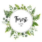 Floral vector invite card Design with green Eucalyptus fern leaves elegant greenery berry forest round circle wreath beautiful c