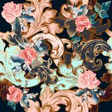 Floral vector ornamental pattern in vintage style with roses royalty free illustration