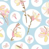 Floral vector pattern with circle and lily. stock photography