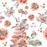 Floral vector pattern with cosmos flowers vector illustration