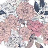 Floral vector pattern hand drawn roses for design Stock Photos