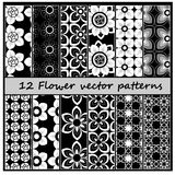 12 floral vector pattern. Illustrator 10 Stock Image