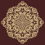 Floral Vector Pattern. Orient Abstract Background. Floral vector oriental pattern with damask, arabesque and floral golden elements. Abstract ornament for Royalty Free Stock Photo