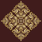 Floral Vector Pattern. Orient Abstract Background. Floral vector oriental pattern with damask, arabesque and floral golden elements. Abstract ornament for Royalty Free Stock Photos