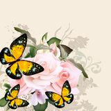 Floral vector pattern with roses and butterflies Royalty Free Stock Photography