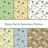 Floral vector pattern set with chamomiles and green leaves, seamless print for textile and wrapping paper. Floral vector pattern set with chamomiles and green Stock Photography
