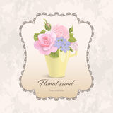 Floral vector romantic card bouquet in cup. Vintage romantic greeting card flowers in cup. delicate bouquet of roses, buds, leaves on grunge background with Stock Photography