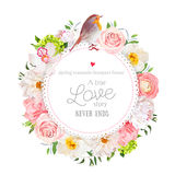 Floral vector round card with white peony, peachy rose and ranunculus, dahlia, carnation flowers, green hydrangea, mixed plants an. D cute small robin bird. All Royalty Free Stock Photography