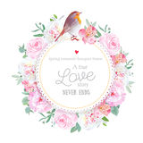 Floral vector round card with white and pink peony, rose, alstroemeria lily, eucalyptus, mixed plants and cute small robin bird Stock Photography