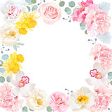 Floral vector round frame. White center and flowers invitation card. Floral vector round frame with pink rose, hydrangea, carnation, daffodils, peony, camellia royalty free illustration