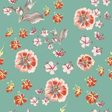 Floral vector rustic pattern with cosmos flowers stock illustration