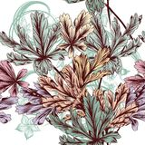 Floral vector seamless background with pastel foliage Stock Photo