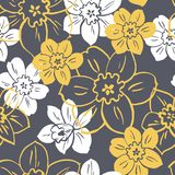Floral vector seamless background with yellow and white flowers royalty free illustration