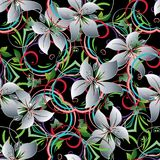 Lily flowers seamless pattern. royalty free illustration