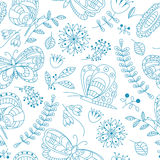 Floral vector seamless pattern with butterfly Stock Photography