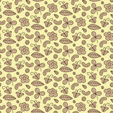 Floral vector seamless pattern with flower, nut, clover, leaf. Forest items natural background. Endless texture. Stock Image