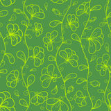 Floral vector seamless pattern in green and yellow Royalty Free Stock Image