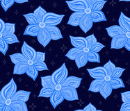 Floral vector seamless pattern with magical blue flowers and stars Royalty Free Stock Photography